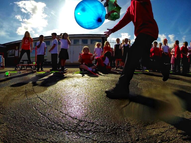 A balloon strays onto the course in front of our Mini-Rocket Car launchers